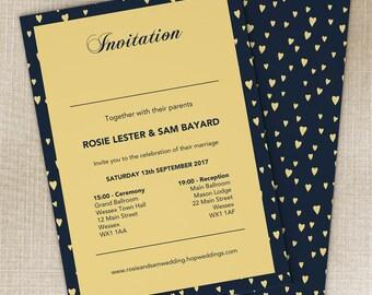 Hundred Hearts Wedding Invitations, Elegant Wedding Stationery Set