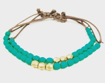 Turquoise and Matte Gold Stacking Bracelets with Adjustable Cotton Cord