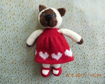 Adorable Hand Knitted Siamese Cat