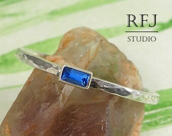 Baguette Cut Sapphire Stacking Hammered Silver Ring, September Birthstone Blue Lab Sapphire 3x1.5 mm Stackable Ring Synthetic Sapphire Ring
