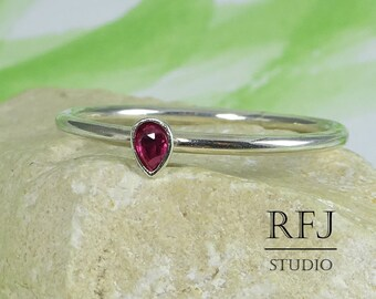 Teardrop Synthetic Ruby Silver Ring, Stacking July Birthstone Ruby Ring Pear Cut 3x2 mm Pink Ruby Ring Tiny 925 Silver July Gemstone Ring
