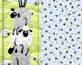 "Susybee Fabric , Sheep Fabric : Susybee's Lewe the Ewe - Lewe's Lal Sheep Toss Growth chart 100% cotton fabric by the Panel 29""x42"" (SB80)"