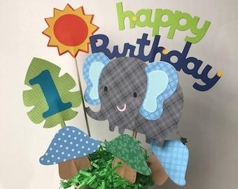 Elephant birthday centerpiece, safari animals themed birthday, jungle themed party, boy's 1st birthday centerpiece