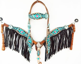 Floral Tooled Leather Buck stitched Gator Western Horse Bridle Headstall Fringe Breast Collar Tack Set