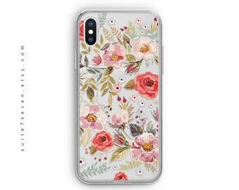 iPhone 8 Plus Case, iPhone X Case, iPhone X, iPhone Cases, iPhone 8 Case, Beautiful Floral, iPhone 7 Case, iPhone 7 Plus, Clear Case