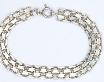 Vintage sterling silver double chain bracelet/wide bracelet/sterling silver bracelet//classy bracelet/classic bracelet/gift for her/