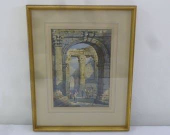 Samuel Prout framed glazed watercolour of an Italian market, label on verso 32 X 22.5cm
