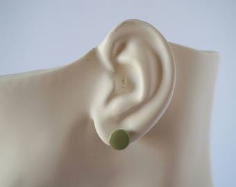 Olive green stud earrings