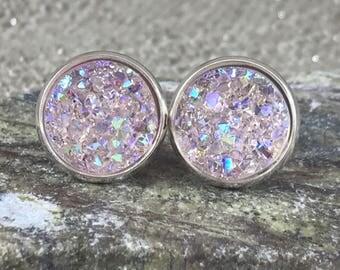 Pale Pink Druzy Earrings - Drusy Earrings - Bridesmaid Gift - Stud Earrings - Faux Druzy - Trend Jewelry - Wedding Earrings - Bridal Jewelry