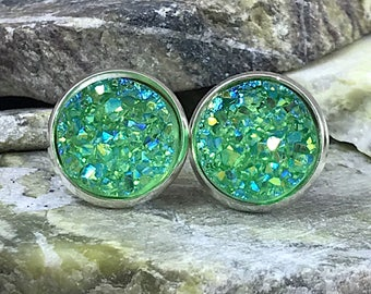 Green Druzy Earrings - Bridesmaid Gift  - Drusy - Green - Irish - Jewelry - St Patrick's Day Earrings - Accessories - Irish Earrings - Druzy