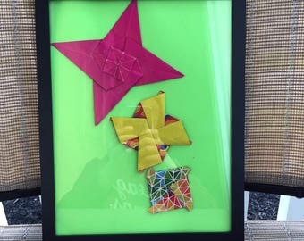 Origami menko/pattern designs in picture frame.Mixed media 3D/dimentional picture.