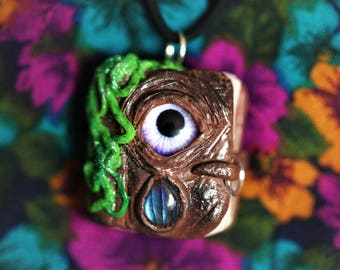 Ancient Book Labradorite Necklace, Book of Spells, Third Eye, All Seeing Eye, Pixie, Faerie, Crystal Pendant