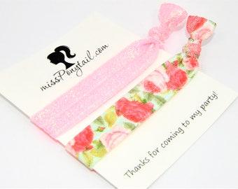Birthday Party Favor Hair Ties, Floral Hair Ties, Glittery Pink, Handmade Trendy Ponytail Holders Knotted Elastic Hair Ties