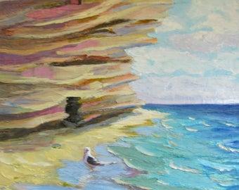 "sea painting, rocky seascape art on canvas, seagull sky sea abstract original acrylic painting 16""x16"",textured painting heavy impasto"