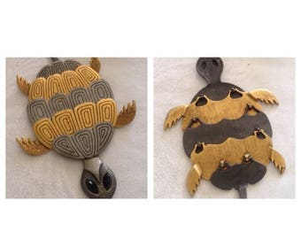 On Sale Adorable Large Black and Gold Turtle Pendant