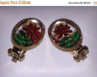 Anniversary Sale Vintage Lucite Clip Earrings with Red Flowers