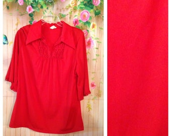 Vintage Red Polyester Blouse
