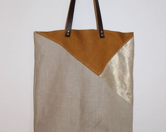 """Tote bag"" tote bag graphic in 100% linen and leather straps"