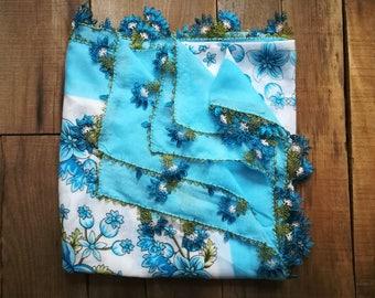 Turkish Oya Scarf Sky blue scarf Square scarves Needle lace scarf Flowers floral scarf Crochet bohemian boho scarf Turkish yemeni scarves