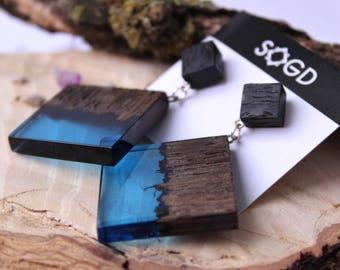 Long earrings, blue earrings, wood earrings, Resin earrings, wood resin earrings, resin jewelry, wood jewelry.