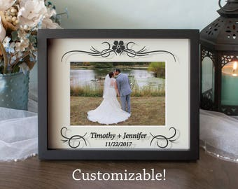 Personalized Wedding Picture Frame, Center Flower, Anniversary Frame, Shadow Box, Vinyl on Glass, 8x10, 11x14