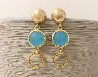 Gold and aqua blue drop earrings