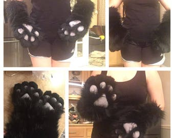 Fursuit Solid Color Wrist To Elbow Arm Sleeves with Paws