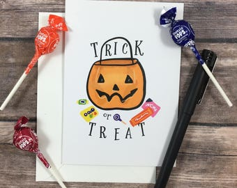 trick or treat card, halloween card, happy halloween card, candy card, trick or treating, kids halloween card, cute halloween card, seasonal