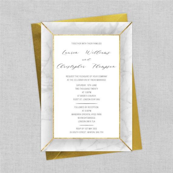 Marble wedding invitations, Marble wedding invites, Elegant modern wedding invitations, Custom wedding invitation sets, Faux gold foil A5