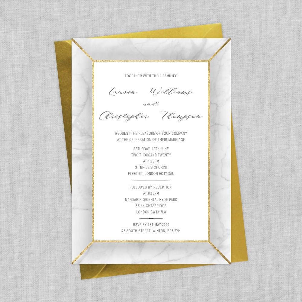 Marble Wedding Invitations Invites Elegant Modern Custom Invitation Sets Faux Gold Foil A5