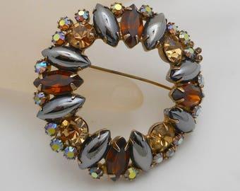 Vintage Circle Brooch/Pin Hematite, Topaz and Aurora Borealis Rhinestones