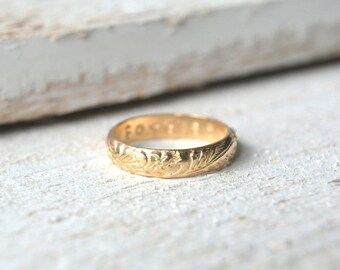 Gold Filled Antique Band. Promise Ring, Wedding Band, Vintage Ring, Gold Stacking Ring, Secret Message Ring, Anniversary Ring