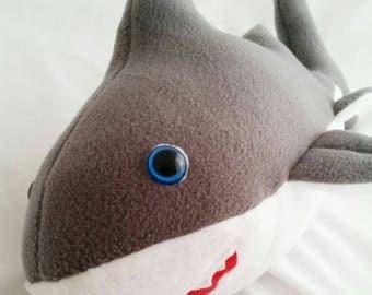 Shark teddy, shark bear,fleece shark,Sammy shark,happy shark, cuddly shark, grey shark, white shark, sea creature, ocean