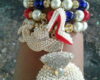 Bags, Hats, and Heels, Stretch Bracelets, Beaded Bracelets, Women's Jewelry, Red Bottoms, Arm Candy, Women's bracelets, Stacked Bracelets