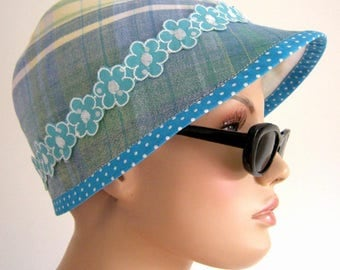 CAP, Cap, hat, summer hat, sunscreen, turquoise, white