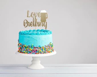 Love is Brewing- Wedding Cake Topper- Glitter Cake Topper - Engagement Topper- Bridal Shower Topper- Cake Topper- Beer Mug Cake Topper
