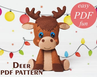 PDF felt deer pattern Stuffed animal Easy Sewing Nursery decor Woodland animals Baby Shower gift Mobile Christmas ornament tutorial Pattern