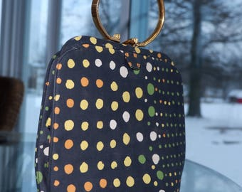 Mod Multicolored Polka Dot Purse with Circular Brass Top Handle and Attached Coin Purse