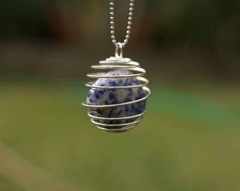 Lapis Lazuli Crystal Pendant Necklace on Silver Chain
