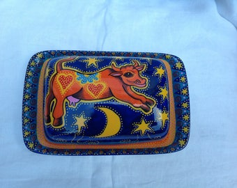 Hand painted butter dish with psychedelic cow jumping over the moon