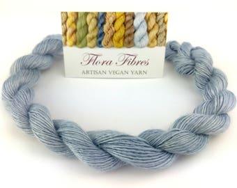"""Hand spun naturally dyed vegan seacell light fingering weight yarn """"Cornflower"""" for knitting crochet weaving UK"""