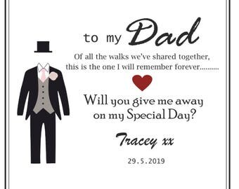 Will You Give Me Away? Father Of The Bride - Step Dad -  Give Me Away - Walk Me Down The Aisle - Personalised Card