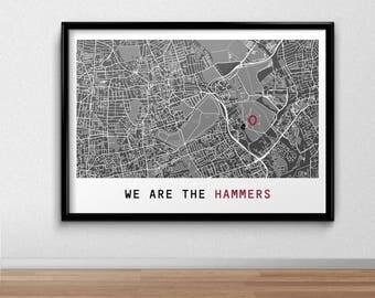 West Ham United F.C. Football Poster, Football Poster, Football Print, gift, Map Print,  Present