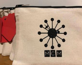 Mid-Century Design Multi-Purpose Zipper Canvas Pouch