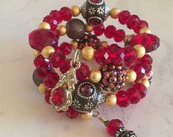 Red Gold Mix Glass Ceramic Resin Memory Wire Bracelet