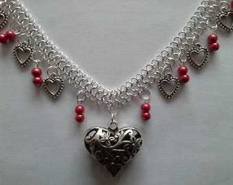 Heart Necklace and red beads