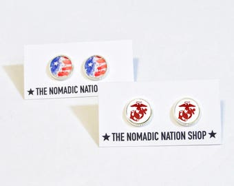 Patriotic Earrings- Marine Corps Earrings- USMC Accessories- Military Accessories