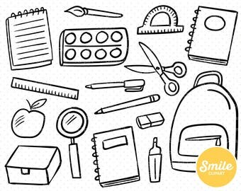 Line Art Back to School Clipart Illustration for Commercial Use   0502
