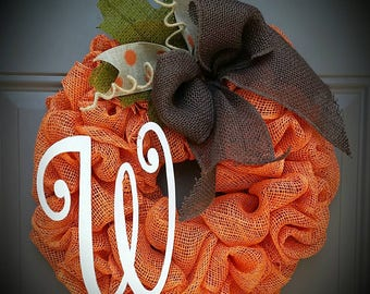 Lil Miss Pumpkin Pie Orange  Burlap Wreath