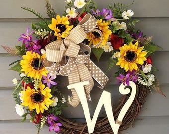 Summer Wreath, Monogrammed Wreath, Sunflower Wreath Front Door, Initial Sunflower Wreath, Gift for Her, Home Decor, Personalized Wreath